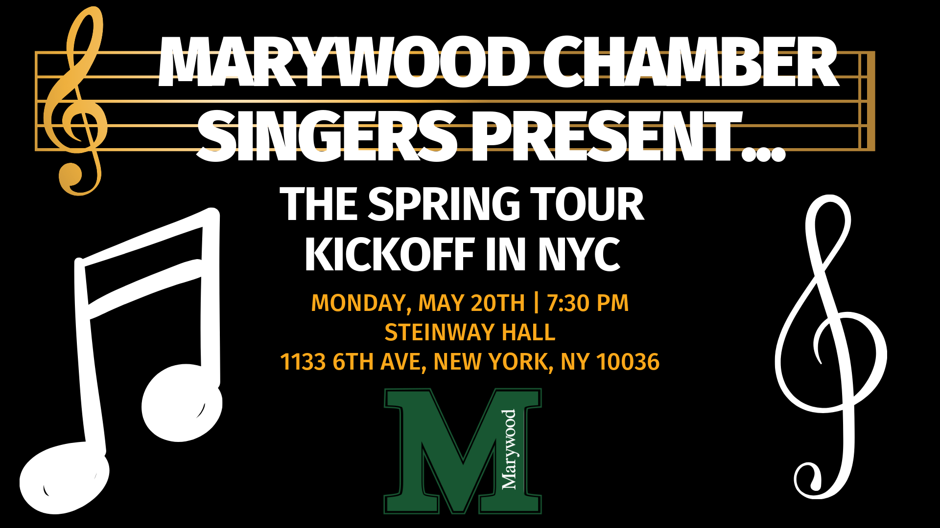 Marywood University Chamber Singers Spring Tour Kickoff - Steinway Hall, New York, NY at 7:30 p.m.